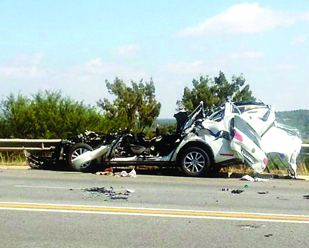 FILE PICTURE: The wreckage of the car that Minster in the Presidency, Collins Chabane was killed along with two police officers after colliding with a truck that was apparently doing a u turn on the highway in the early hours of 15 March 2015. Picture Twitter