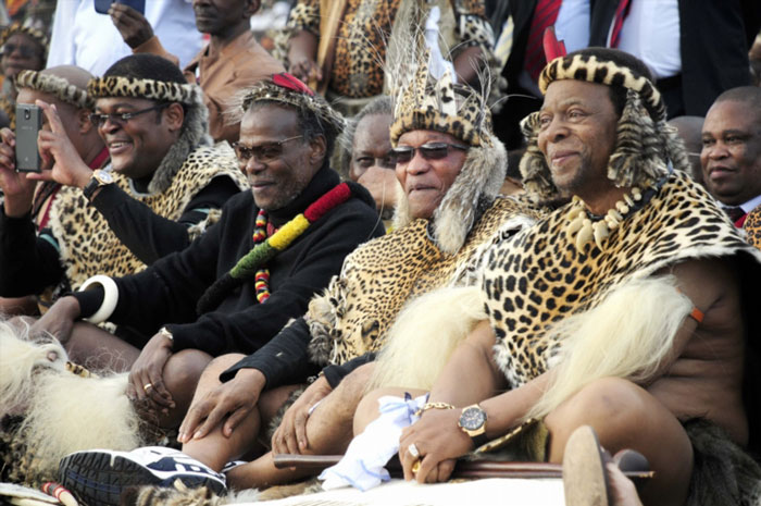 FILE PICTURE: Prince Mangosuthu Buthelezi and President Jacob Zuma with Zulu King Goodwill Zwelithini (far right) during his wedding at Ondini Sports Complex on July 26, 2014 in Ulundi, South Africa. Mafu was selected as the king's bride at the age of 18 while participating in the 2003 Swazi reed dance, she is Zwelithini's sixth wife. (Photo by Gallo Images / Sowetan / Thulani Mbele)