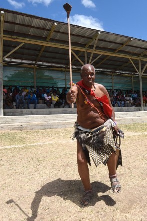 An elderly man dances in his traditional outfit as part of the World Wildlife day celebrations at the Skukuza Stadium in the Kruger National Park, 03 March 2015. Picture: Refilwe Modis