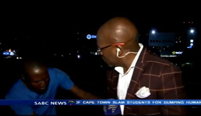 SABC contributing editor Vuyo Mvoko was mugged with his news crew outside Milpark Hospital. Picture: screengrab