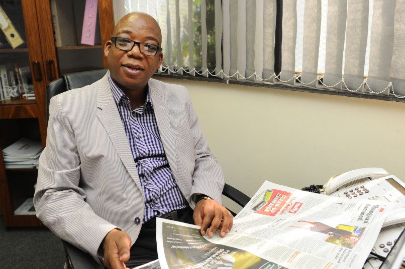 The Citizen Editor Steven Motale is pictured in his office. Picture: Michel Bega