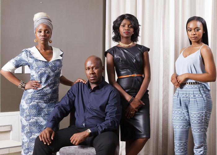 MANY WIVES. [From left to right] Gcina Mkhize, Hamilton Dlamini, Ledwaba and Nomzamo Mbatha are the principal cast of Umlilo.