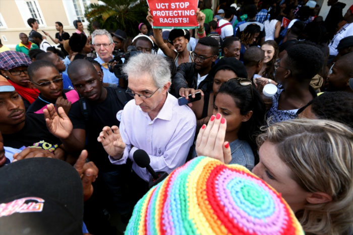 FILE PICTURE: UCT's Vice Chancellor Dr Max Price interact with students outside his office at the University of Cape Town campus grounds on March 18, 2015 in Cape Town.(Photo by Gallo Images / The Times / Esa Alexander)
