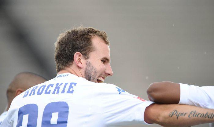 Jeremy Brockie celebrates his goal. (Photo by Lefty Shivambu/Gallo Images)