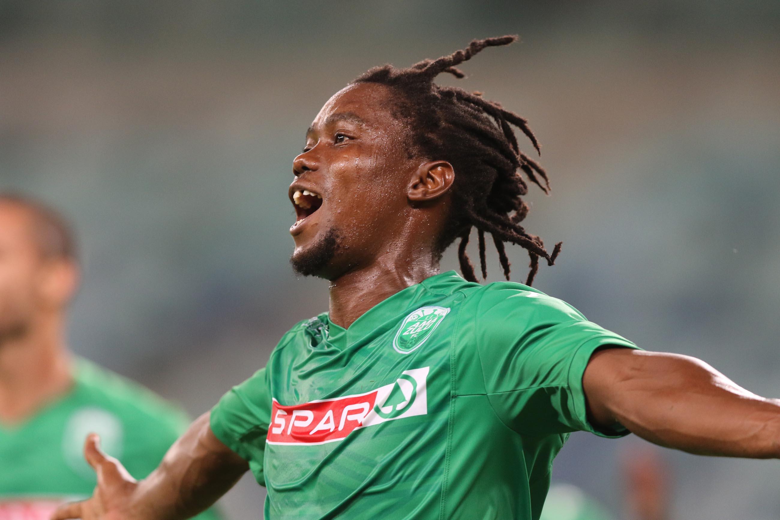 Mbulelo Mabizela of Amazulu celebrates his goal.  (Photo by Anesh Debiky/Gallo Images)