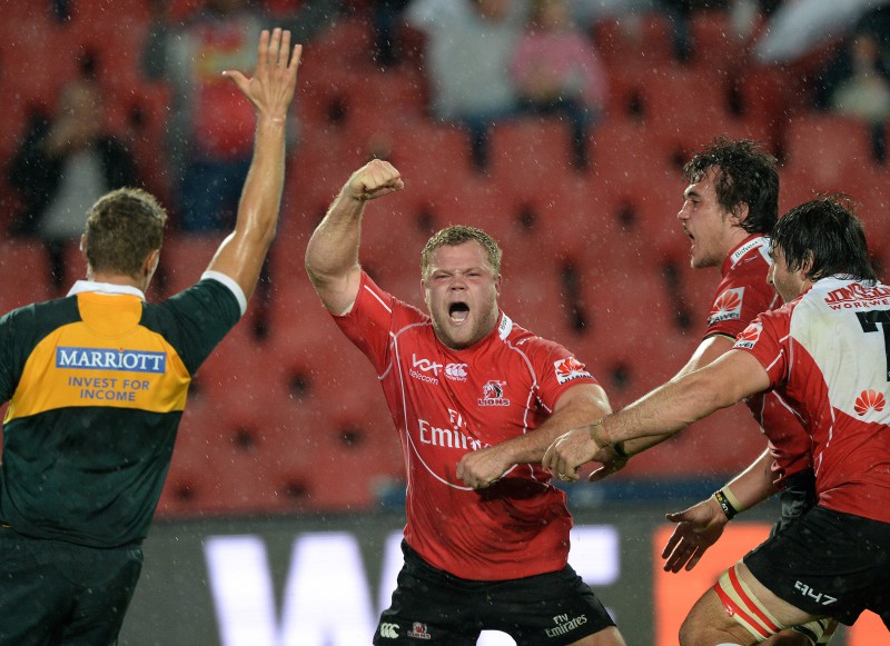 Armand van der Merwe of the Lions celebrates. (Photo by Duif du Toit/Gallo Images)