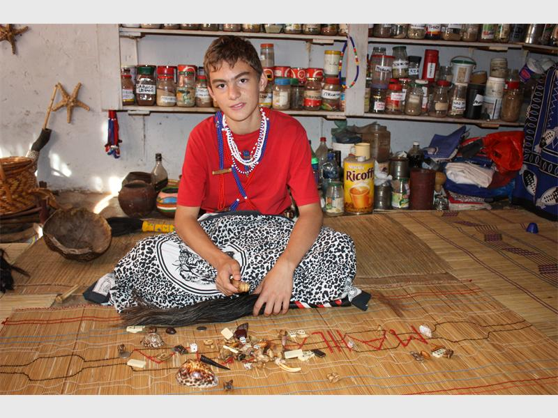 Kyle Todd, now known as Frank Marshall (11) a mlungu sangoma (white traditional healer), is pictured. Pic: Rekord East