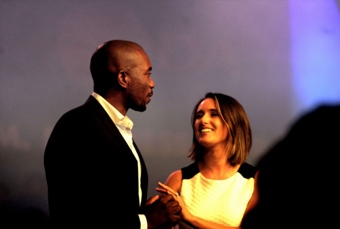 DA leader, Mmusi Maimane with his wife Natalie Maimane at the party's annual conference on May 10, 2015 in Port Elizabeth, South Africa. Yesterday, Maimane was elected as the DA's new leader, making him the first black leader of the party. (Photo by Gallo Images / City Press / Muntu Vilakazi).