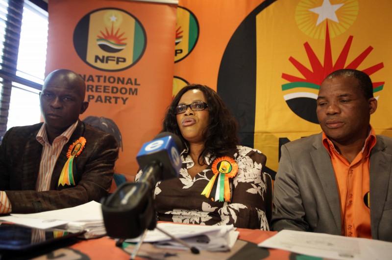 FILE PICTURE: National Freedom Party national chairperson Maliyakhe Shelembe, NFP leader Zanele Magwaza-Msibi and NFP secretary general Nhlanhla Khubisa. (Photo by Gallo Images / The Times / Thuli Dlamini)