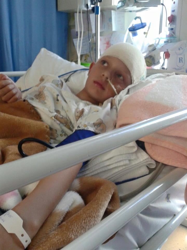 Caden Slabbert in hospital. Pic: Krugersdorp News