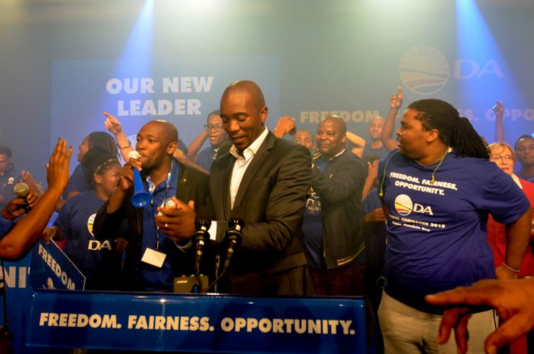 Newly elected Democratic Alliance Leader Mmusi Maimane  takes to stage, 10 May 2015, at the Boardwalk conference centre in Port Elizabeth in the Eastern Cape, concluding the party's national congress. Picture: Alaister Russell