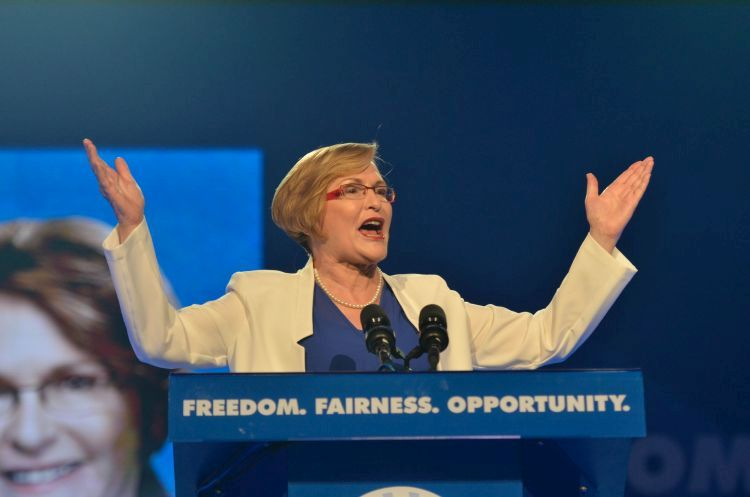 Helen Zille addresses delegates at the opening ceremony of the Democratic Alliance's Federal Congress,9 May 2015, at the Boardwalk Conference centre in Port Elizabeth, Eastern Cape. Picture: Alaister Russell