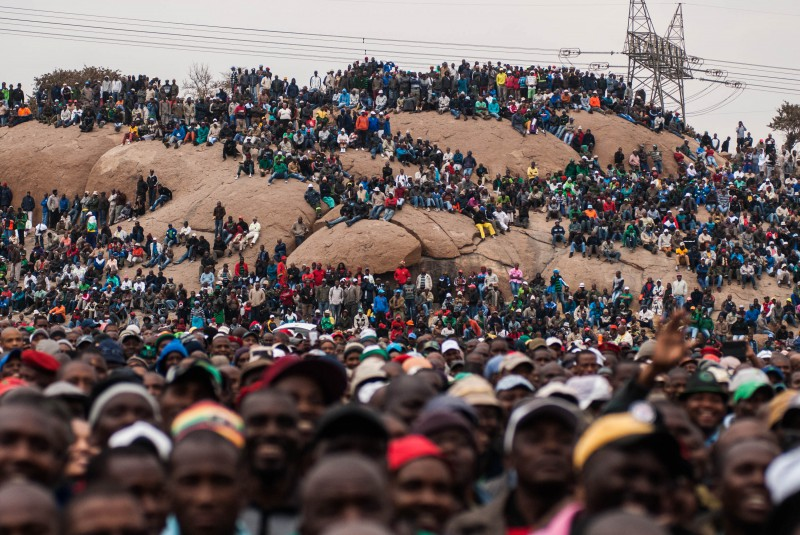 People during the commemoration rally of the second anniversary of the Marikana massacre on August 16, 2014 in Rustenburg, South Africa. Thirty-four miners were killed by police on 16 August 2012 during a violent wage increase protest. Picture: Gallo Imahes