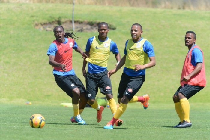 Reneilwe Letsholonyane, Mandla Masango, Andile Jali and Kermit Erasmus during the South African national soccer team training session at Royal Marang Sports Complex on October 08, 2014 in Rustenburg, South Africa. (Photo by Lefty Shivambu/Gallo Images)