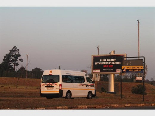 """I like to give my clients pleasure, not HIV"" reads the message on the billboard on Voortrekker Road. Pic: Krugersdorp News"