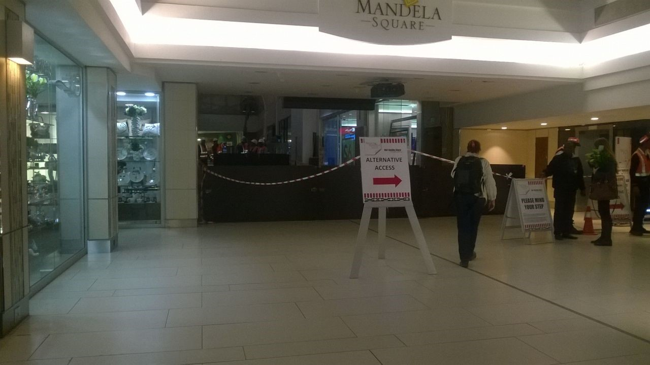 The walk-way between Sandton City and Nelson Mandela Square where the ceiling collapsed has been blocked off. Pic: Sandton Chronicle