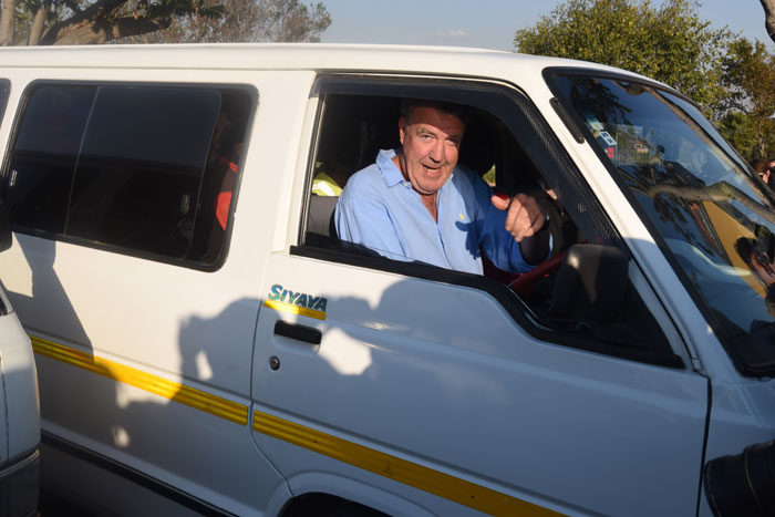 Television star Jeremy Clarkson arrives for a photocall in a taxi outside The Dome in Johannesburg, 10 June 2015. Picture: Refilwe Modise