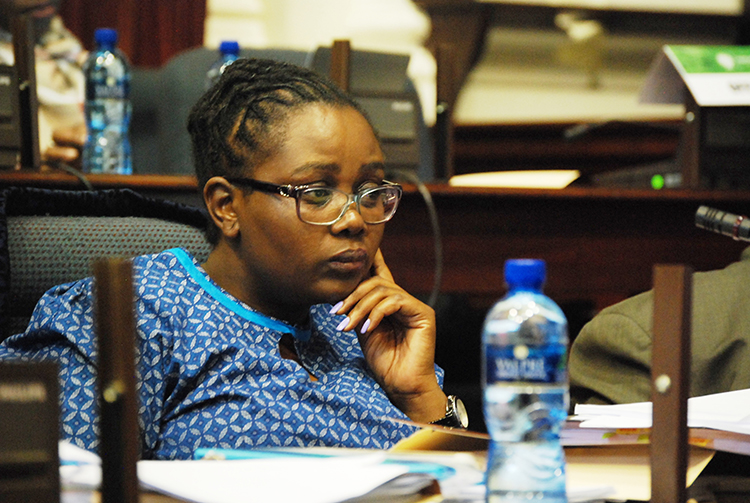 Member of parliament Nkhensani Kubayi of the African National Congress after making her presentation at the KwaZulu-Natal provincial legislature during the sitting of the Adhoc committee