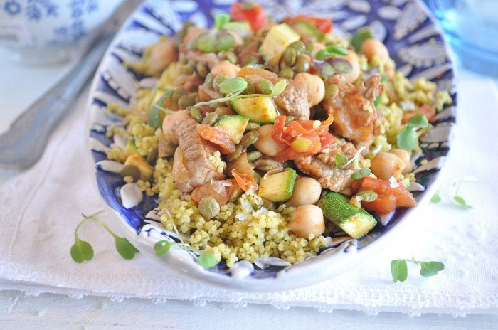 Oriental Mint and Lemon couscous with chickpeas and lentils.