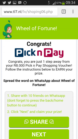 """Pick 'n Pay """"Wheel of Fortune"""" scam. PIC: Zululand Observer."""