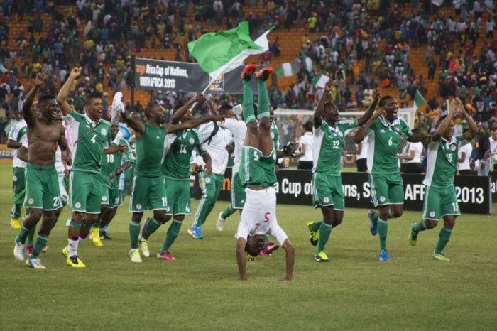 Nigerian team celebrating. Photo by Manus van Dyk / Gallo Images