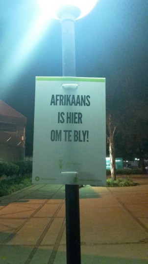 A poster erected by AfriForum. Pic: Facebook