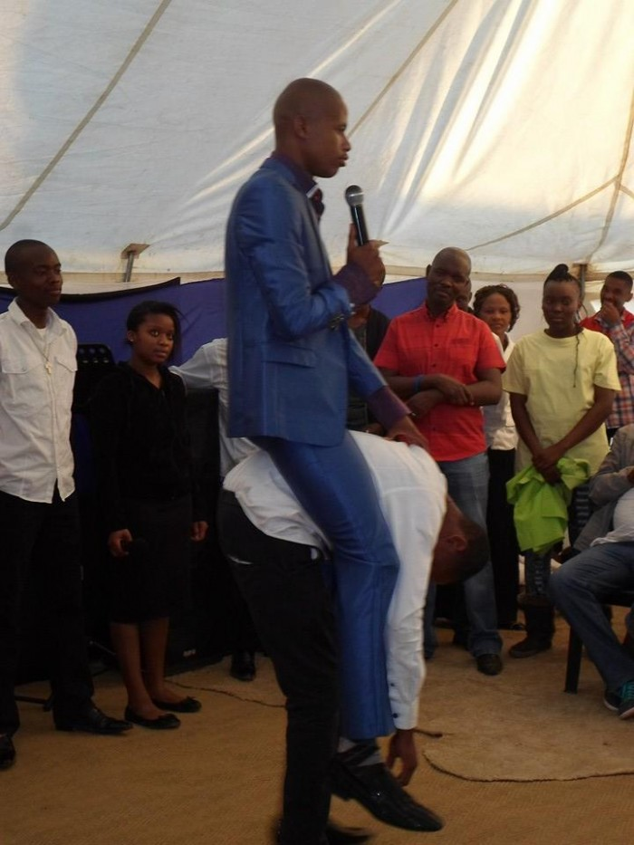 Congregant behaves like a horse. Picture: Facebook