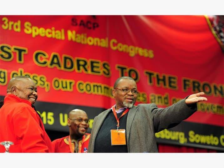 SACP General Secretary,  Blade Nzimande  (L), COSATU president Sdumo Dlamini (C) and  ANC General Secretary, Gwede Mantashe at University of Johannesburg, Soweto Campus. Picture: Nigel Sibanda
