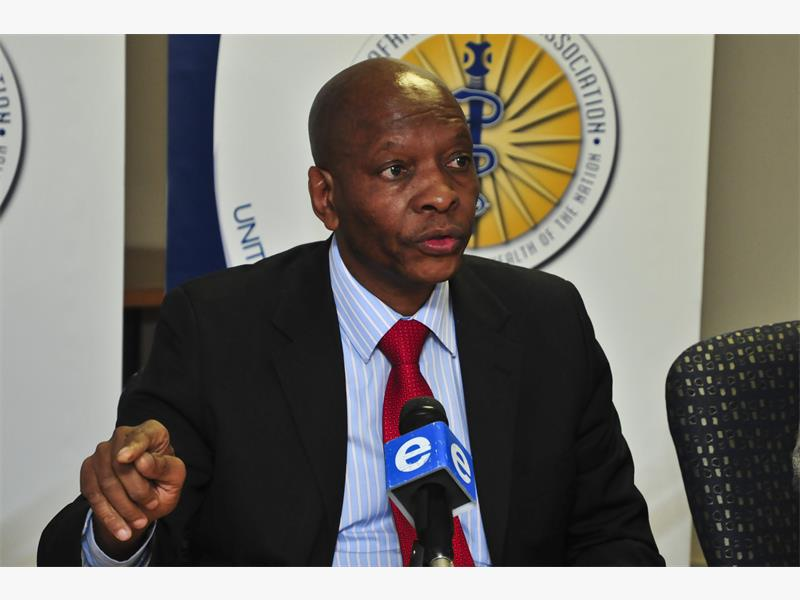 The chairperson of SAMA (South African Medical Association) Dr Mzukisi Grootboom speaks in Pretoria on 15 July 2015 on the continued maladministration of the Compensation Fund. Picture: Christine Vermooten
