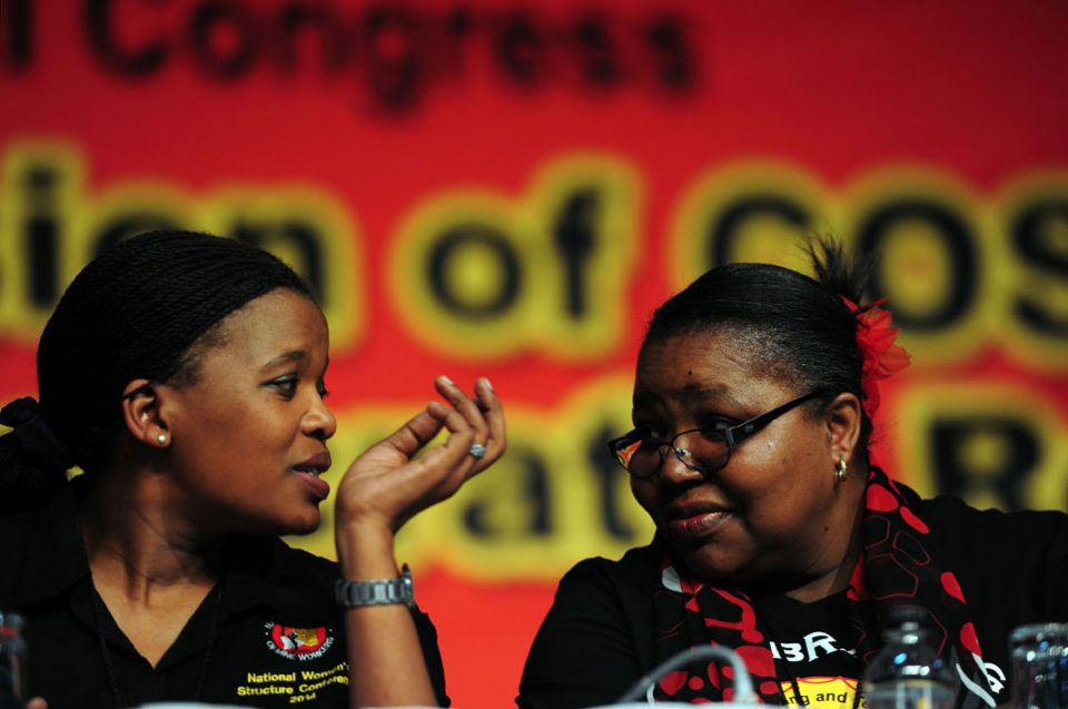 Zingiswa Losi (L) and Cosatu national treasurer Freda Oosthuysen share a moment at Gallagher Convention Centre, Johannesburg, 14 July 2014, on the last day of Cosatu Special Congress. Picture: Nigel Sibanda