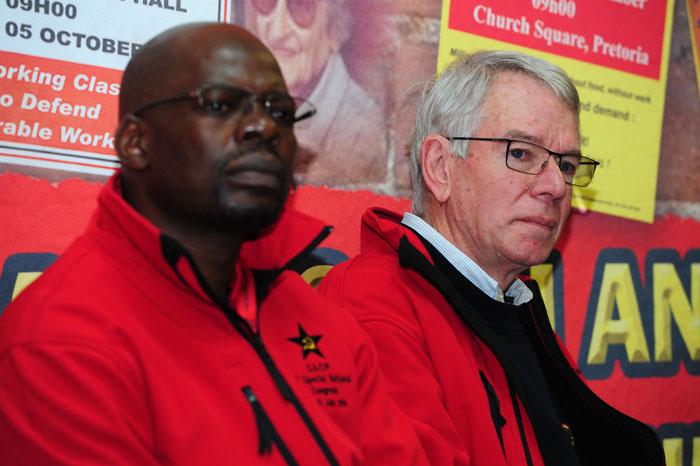 SACP 2nd General Secretary, Solly Mapaila (L) and SACP  1st Deputy General Secretary, Jeremy Cronin briefs media at University of Johannesburg, Soweto, 10 July 2015. Picture: Nigel Sibanda