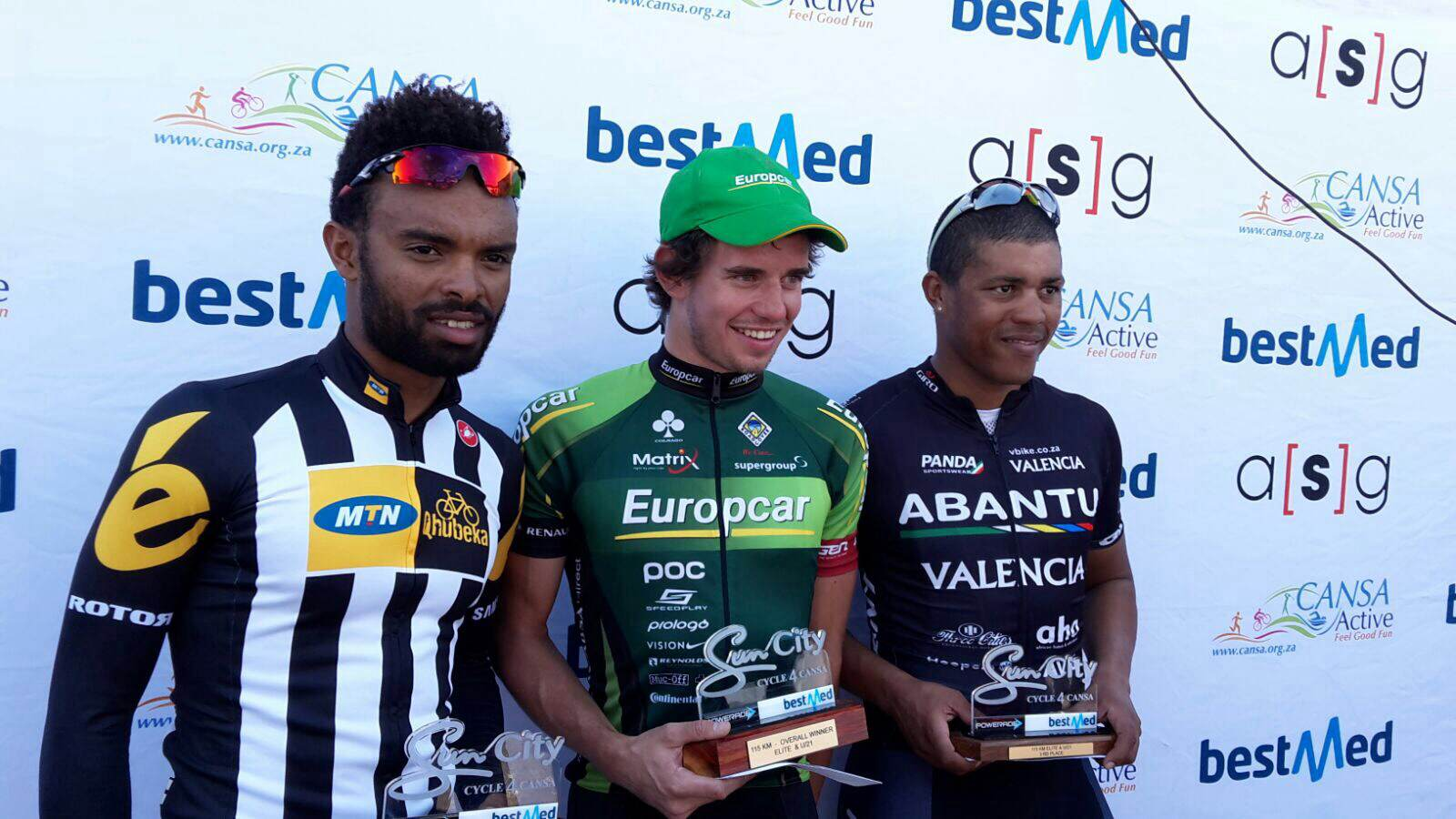 Meron Teshome Hagos, winner Ryan Gibbons and Nolan Hoffman on the podium of the Lost City Cycle Challenge Road Event. Picture: Jaco van der Merwe
