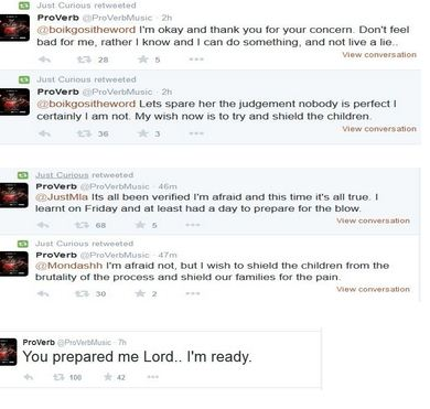 Screen grabs of the tweets that Proverb sent out.