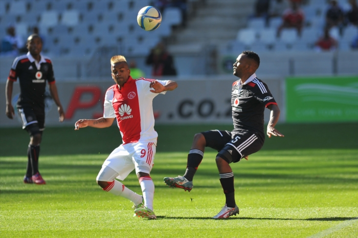 Erwin Isaacs of Ajax Cape Town and Mpho Makola of Orlando Pirates. (Photo by Ashley Vlotman/Gallo Images) Date Created: