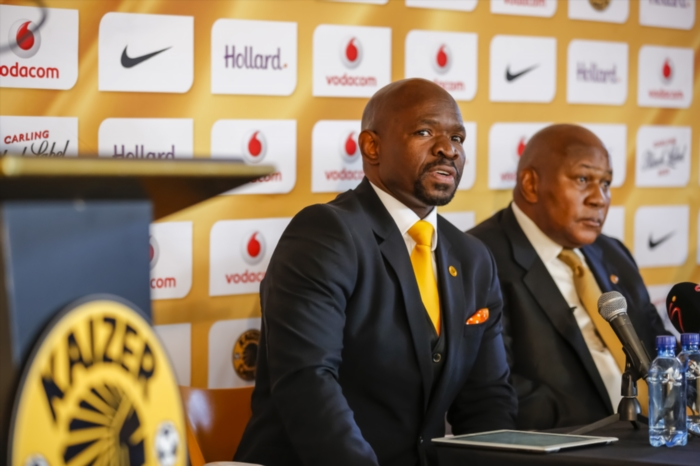 Steve Komphela with Kaizer Chiefs chairman Kaizer Motaung. (Photo by Dominic Barnardt/Gallo Images)