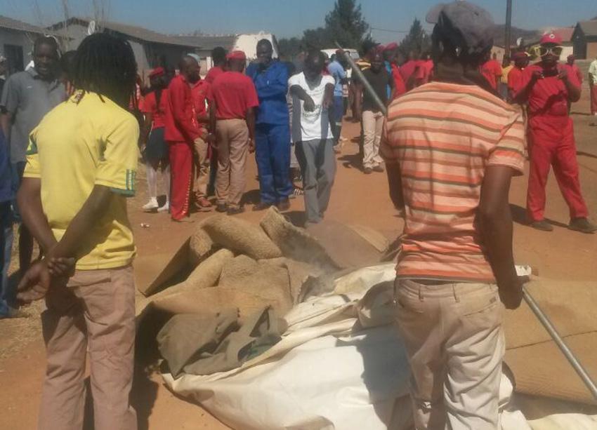 The scene at pastor Mnguni's church. Picture: Steven Tau