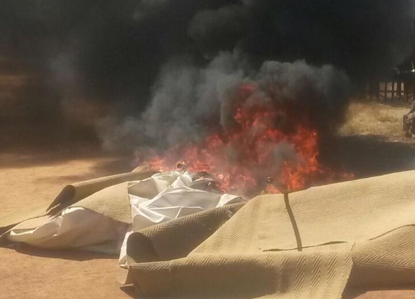 The EFF and Soshanguve community members burned down pastor Penuel Mnguni's church in Soshanguve, Pretoria, on Sunday 9 August 2015. Picture: Steven Tau