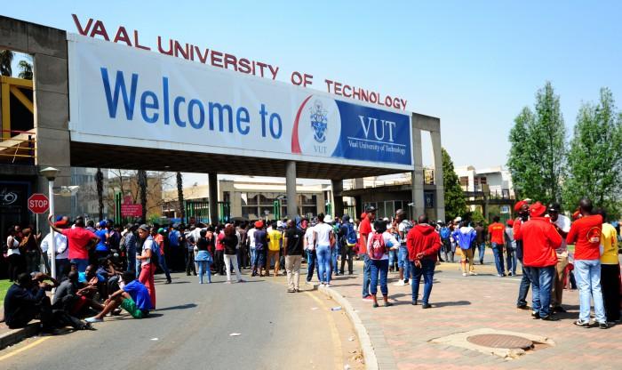 University students outside the  gates at Vaal University  in Johannesburg. Picture: Nigel Sibanda