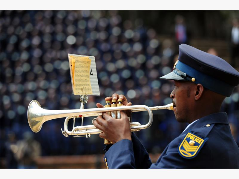 Guard of Honor members at SAPS memorial , Union Buildings in Tshwane, 6 August 2015, during a Commemoration Day event in memory of the officers who died in the line of duty. Picture: Nigel Sibanda
