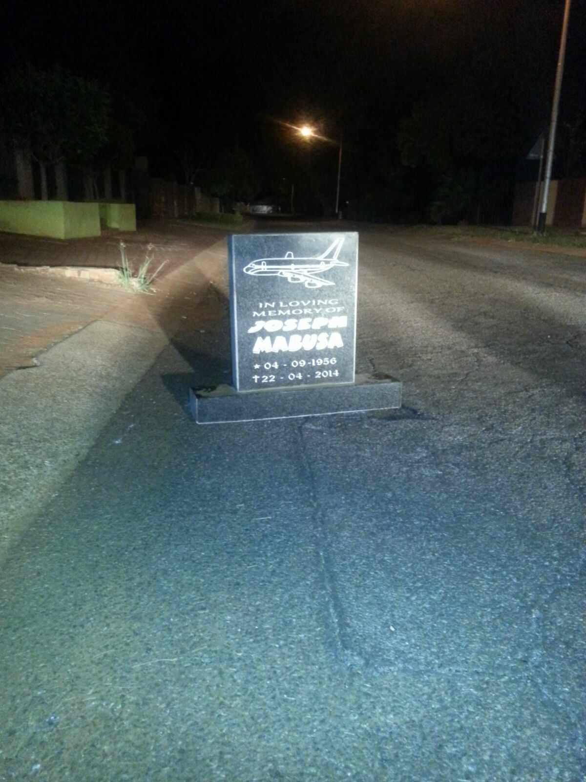 The mysterious tombstone which was left on a residential street in the north of Pretoria. Pic: Rekord North