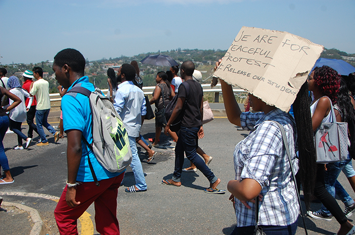 The University of KwaZulu-Natal students in the Westville campus just outside Durban KwaZulu-Natal joined the nation wide demonstrations at universities against the fee increments. Picture: Phumlani Thabethe