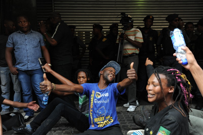 Wits students march through the Johannesburg CBD to Luthuli House, 22 October 2015, during the #FeesMustFall national protest. Students gathered outside the ruling party's offices where they handed over a memorandum of grievances. Picture: Alaister Russell