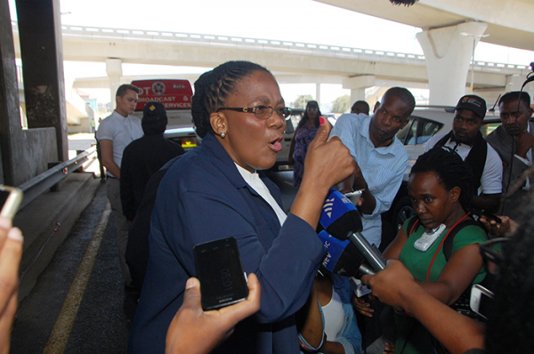 Minister of Transport Dipuo Peters briefing the media after opening the uMngeni Interchange on the N2 north of Durban. Picture: Phumlani Thabethe