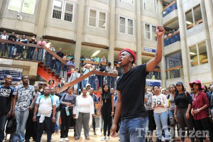 University students protest against fees. Picture: Michel Bega