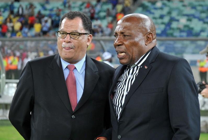 Danny Jordaan, President of SAFA with Shakes Mashaba, coach of South Africa. (Muzi Ntombela/BackpagePix)