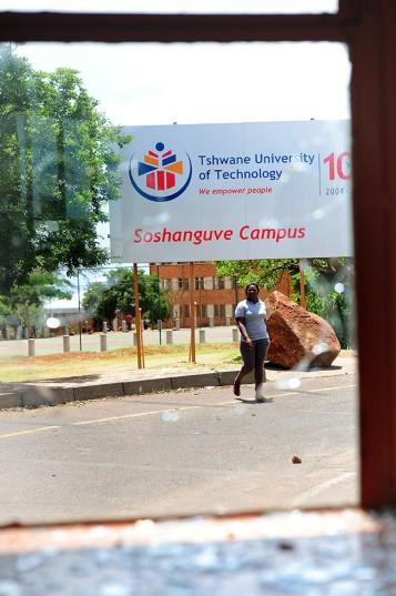 A vandalised security office at the Tshwane University of Technology (TUT). Picture: Nigel Sibanda