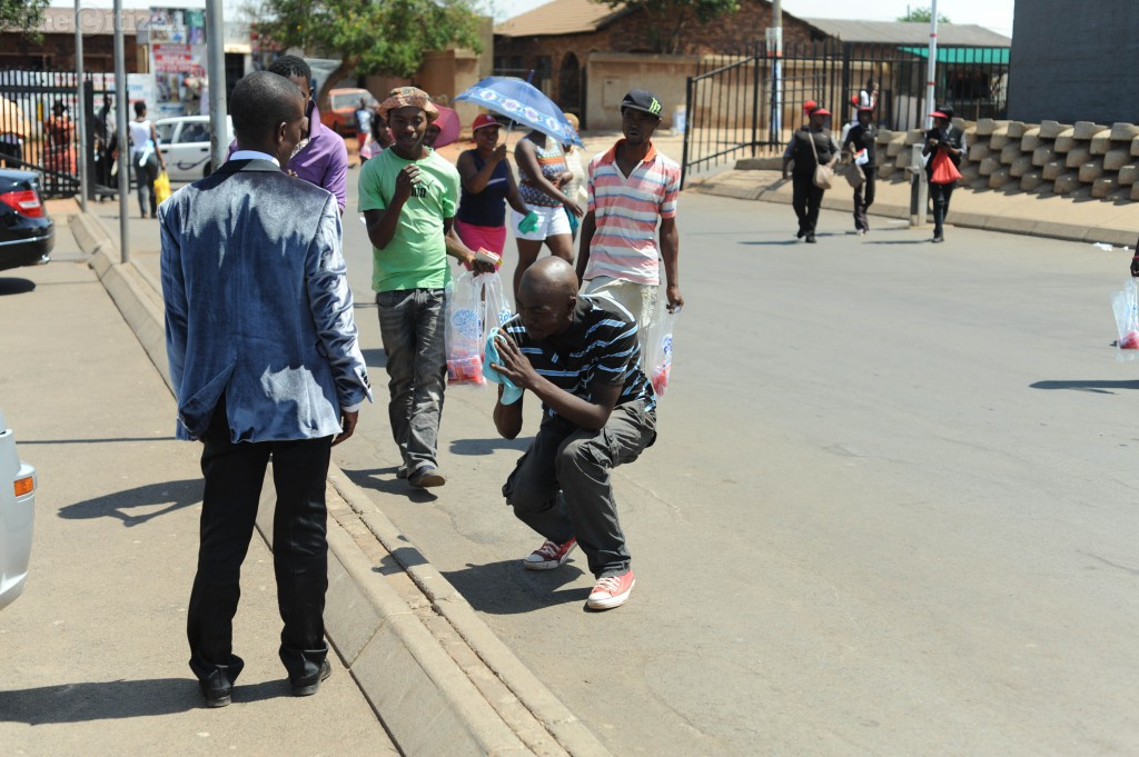 Supporters greet Prophet Paseka Motsoeneng also known as Pastor Mboro, 11 November 2015, in Katlehong on the East Rand, shop owners mistook his VIP security as armed robbers. Over 20 police officers responded to the scene. Picture: Alaister Russell