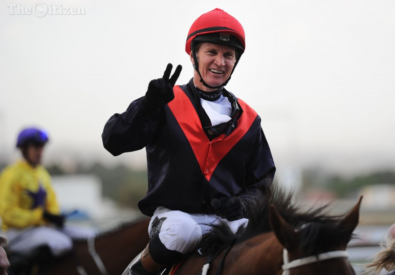 Jockey Piere Strydom celebrates after riding Madame Dubois to a win in the HSH Princess Charlene of Monaco Starling Stakes, 31 October 2015, on the Charity Mile race day at Turffontein Racecourse. Picture: Michel Bega