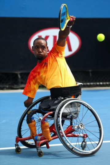 MELBOURNE, AUSTRALIA - JANUARY 27: Lucas Sithole of South Africa competes in his first round match against David Wagner of Australia during the Australian Open 2016 Wheelchair Championships at Melbourne Park on January 27, 2016 in Melbourne, Australia. (Photo by Jack Thomas/Getty Images)