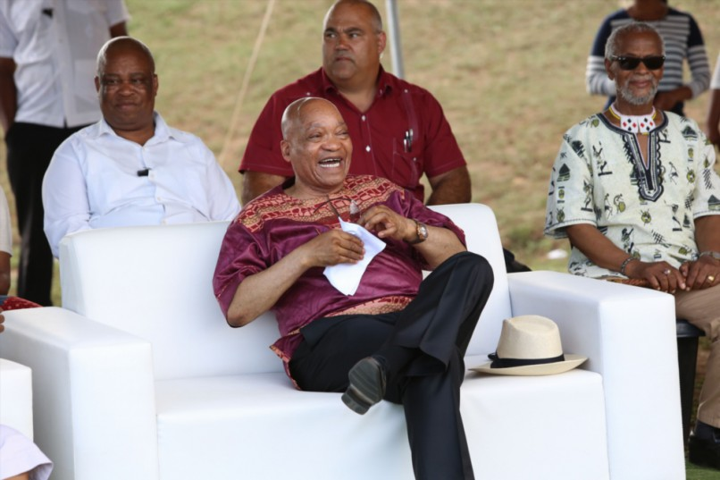 President Jacob Zuma enjoys the annual traditional dance festival at the sports field next to his home in Nkandla on 1 January 2016. Picture: Gallo Images
